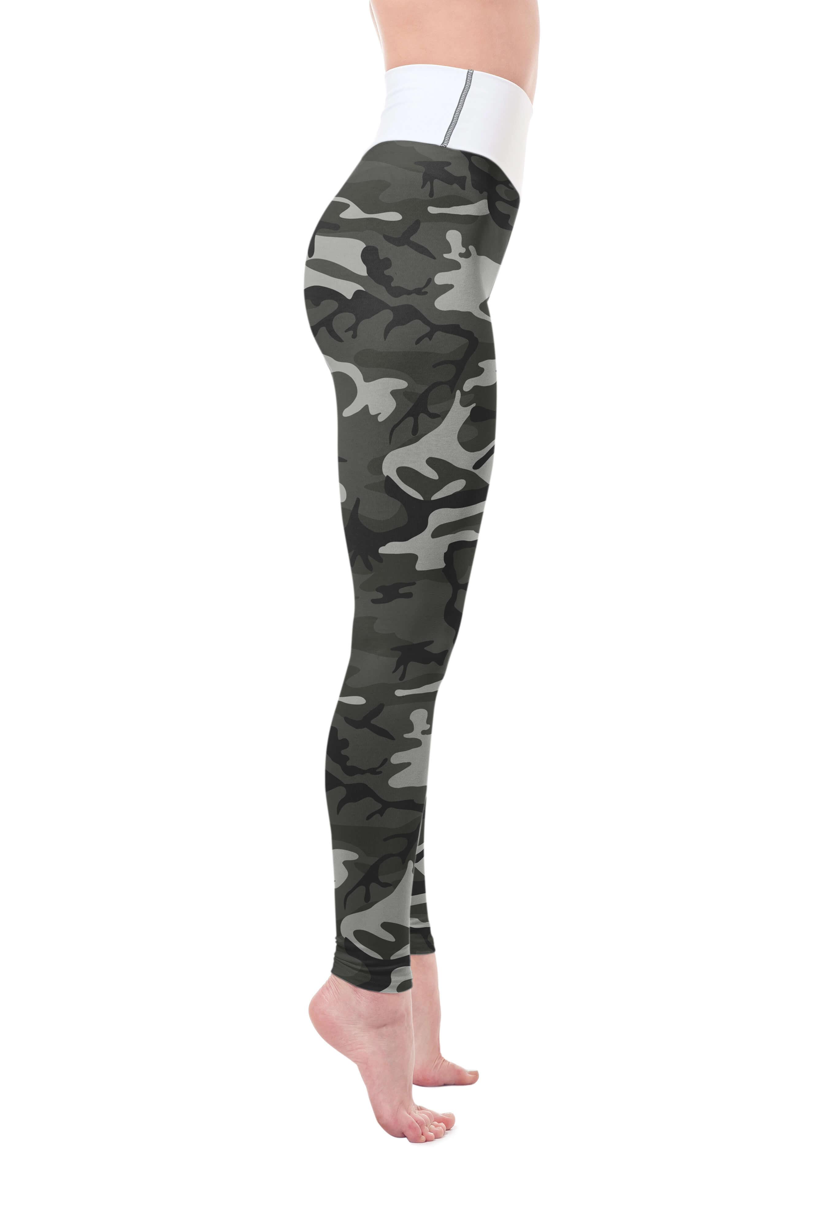 Army Camo Yoga Leggings Raised Waistband
